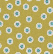 Lewis & Irene - Forme - 6928 - Abstract Floral, Teal on Olive - A410.2 - Cotton Fabric
